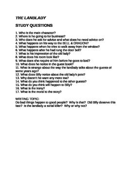 Roald Dahl The Landlady Questions