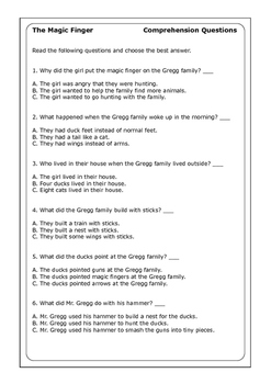 "Roald Dahl ""The Magic Finger"" worksheets"