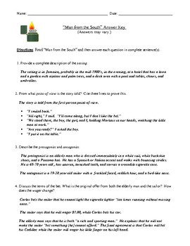 """Roald Dahl's """"Man from the South"""" Review or Assessment and Detailed Answer Key"""