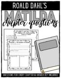 Roald Dahl's Matilda Chapter Questions Booklet
