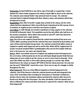 Roanoke Colony - Lost Colony history lesson facts questions information