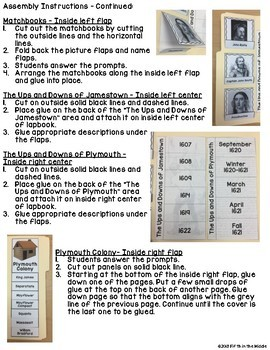 Roanoke/Jamestown/Plymouth Lapbook/Interactive Notebook for Upper Elementary