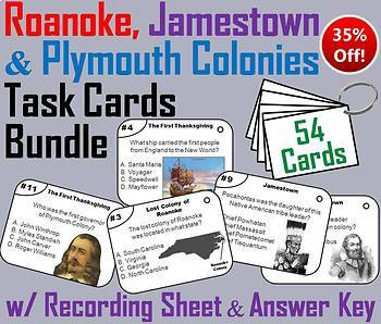 Roanoke, Jamestown and Plymouth Colonies Task Cards Bundle