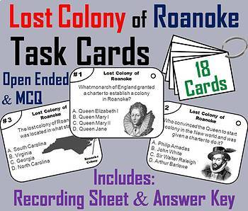 Roanoke, Jamestown and Plymouth Colonies Task Cards Bundle