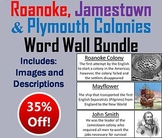 Roanoke, Jamestown and Plymouth Colonies Word Wall Cards Bundle
