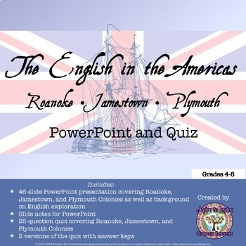 Roanoke, Jamestown, and Plymouth: PowerPoint and Quiz Bundle