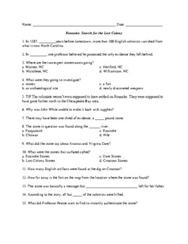 Roanoke:  Search for the Lost Colony Video Worksheet