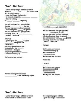 Roar - Katy Perry Listening Activity