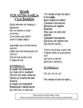 Roar Song Lyrics in Spanish
