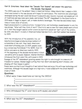 Roaring 1920s 7 part Reading and Questions (7 page Worksheet)