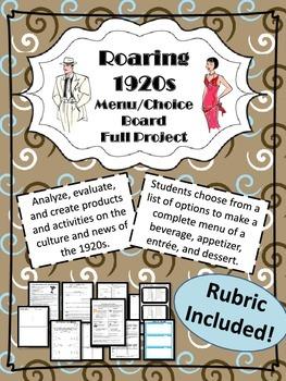 Roaring 1920s Menu/Choice Board -Full Project & Activities