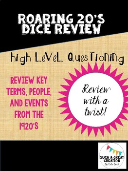 Roaring 20's Dice Review Activity