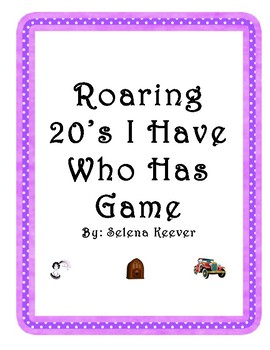 Roaring 20's I Have Who Has Game