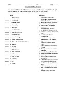 Roaring 20's Matching Worksheet
