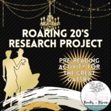"Roaring 20's Research Project: Pre-Reading to ""The Great Gatsby"" or 1920's Era"