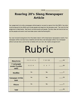 Roaring 20's Slang News Article