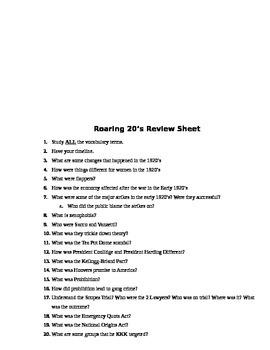 Roaring 20's Assessment (Test)