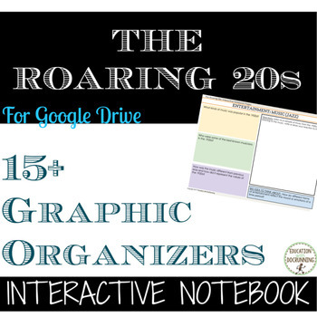 Roaring 20s Digital Interactive Notebook Graphic Organizers for Google Drive