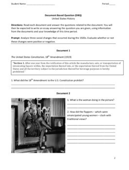 Roaring 20's - Document-Based Question