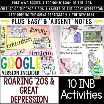 Roaring '20s & Great Depression Interactive Notebook Activities, 1920s & 1930s