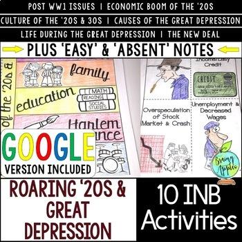 Roaring '20s & Great Depression Interactive Notebook Activities, 1920s & 1930s