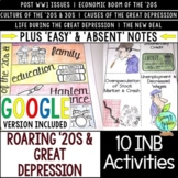 Roaring '20s & Great Depression Interactive Notebook Activ