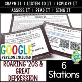Roaring '20s & Great Depression Station Activities; Distan