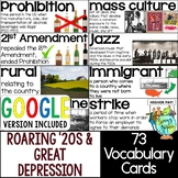 Roaring '20s & Great Depression Vocabulary Cards/Word Wall