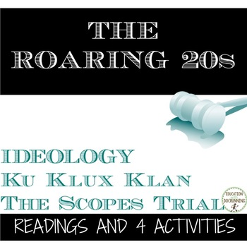 Roaring 20s Ideology in the U.S. Informational Text and 4 activities