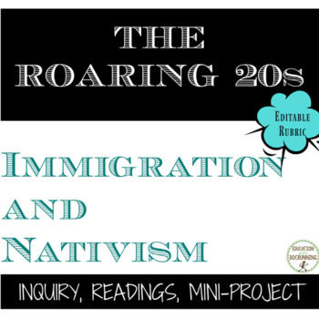 Roaring 20s Immigration Nativism and Backlash in the U.S. in the 1920s EDITABLE