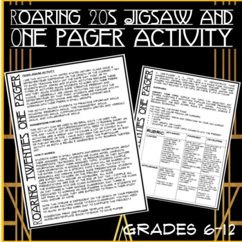 Roaring 20s Jigsaw and One-Pager Activity