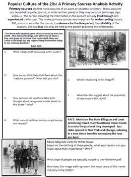 Roaring 20s Popular Culture U.S. History Primary Source Analysis Handouts