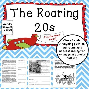 Roaring 20s Primary Sources Close Reads Analyzing Political Cartoons