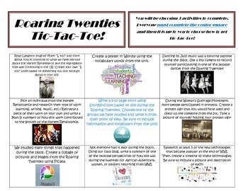 Roaring 20's Tic-Tac-Toe Project Menu, Learner's Contract, and Rubric