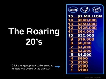 Roaring 20's -  Who wants to be a millionaire Review