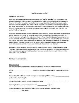 Roaring 20s Worksheets by 2nd Chance Works | Teachers Pay ...