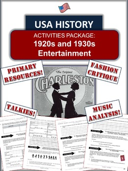1920s Entertainment Activity! Relive the 1920s!  7 Pages of Fun!
