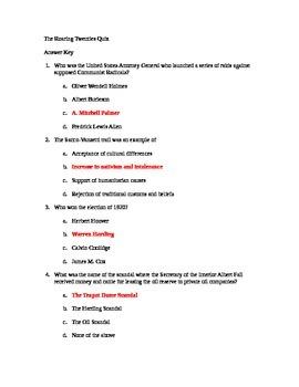 Roaring 20's answer key