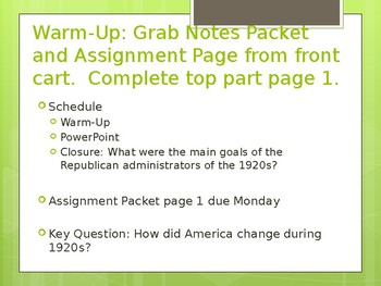 Roaring Twenties 1920s full unit powerpoint notes
