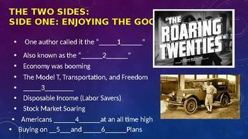 Roaring Twenties (20's) 1920's. Clash of Values Power Point
