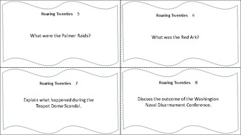Roaring Twenties: A Decade of Contrasts Task Cards