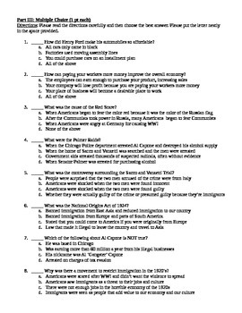 Roaring Twenties Assessment and study guide