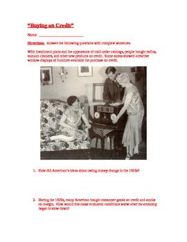 Roaring Twenties:  Buying on Credit