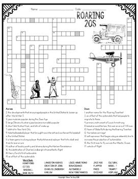Roaring Twenties Comprehension Crossword