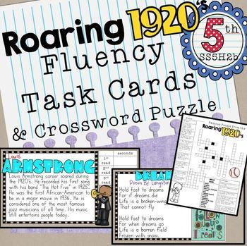 Roaring Twenties Fluency Task Cards and Crossword Puzzle 1920's important people