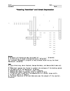 Roaring Twenties, Great Depression Crossword