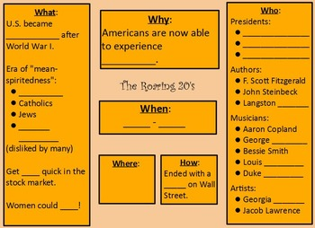 Roaring Twenties, Great Depression Guided Notes Flipchart