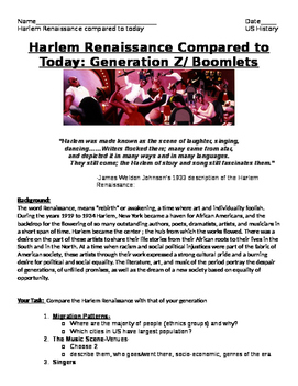 Roaring Twenties- Harlem Renaissance Compare w./Today: Generation Z - Project!