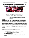 Roaring Twenties- Harlem Renaissance Compare w./Today: Generation Z - Project!