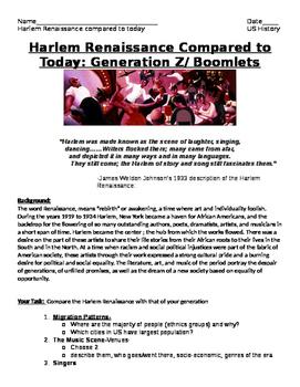 Roaring Twenties- Harlem Renaissance Compare w./Today: Gen